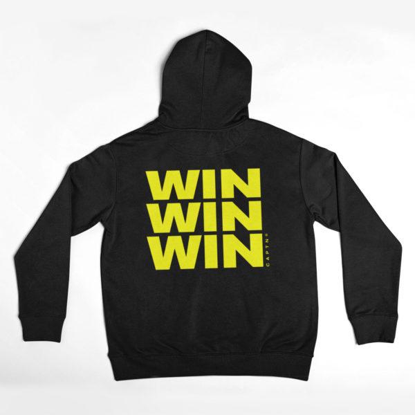 captn epic win hoodie black yellow back