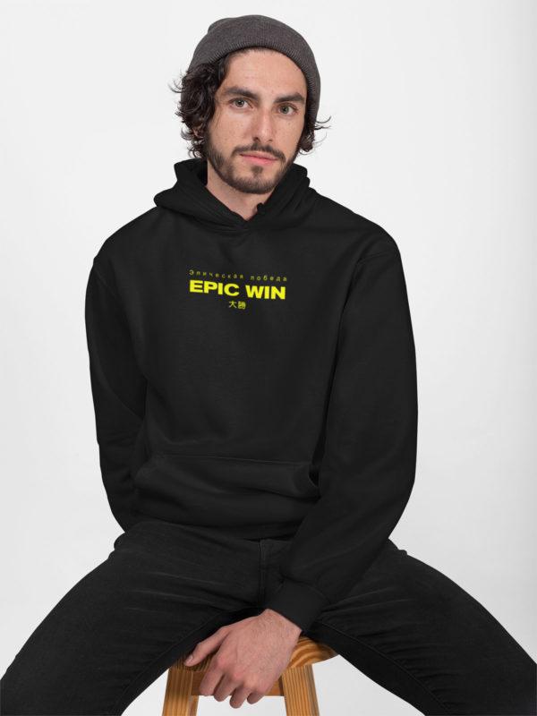 captn epic win hoodie black yellow model