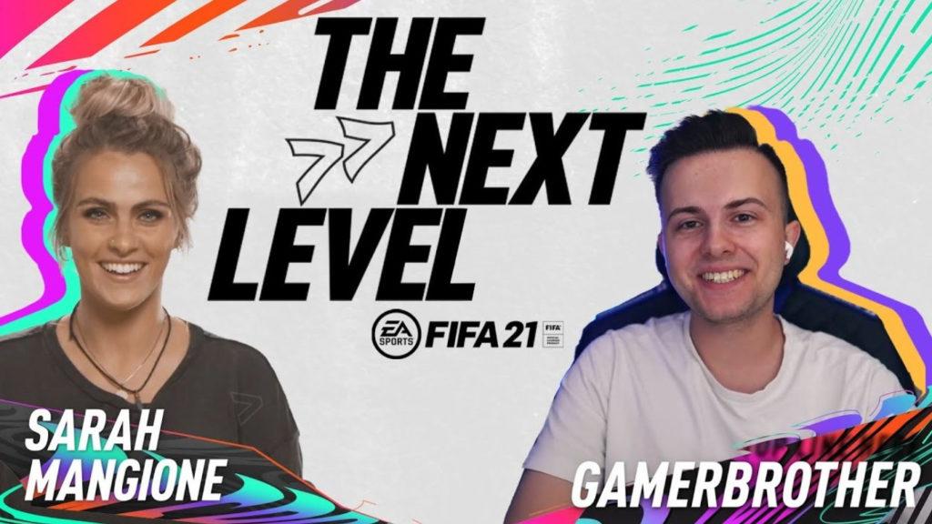 Die Moderatorin Sarah Mangione mit dem Youtuber und Influencer GamerBrother über Änderungen in Fifa 21