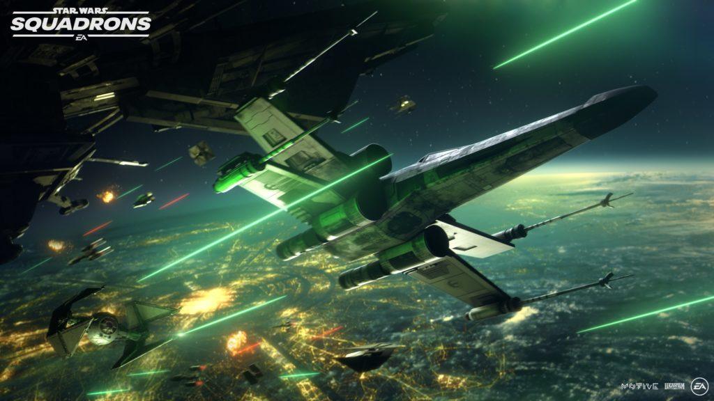 X-Wing im Kampf. Star Wars: Squadrons. Virtual Reality Gaming